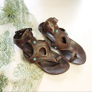 Frye Leather Studded Wedge Sandals Ankle Strap